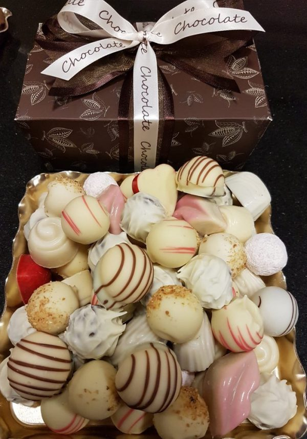 A picture of Chocol8's White Belgian Chocolate selection with brown gift box